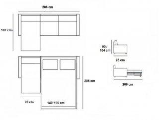 Canapé d'angle Péninsule gauche express RUBINA 160 cm déhoussable matelas 18 cm Encombrement ouvert : 206 cm