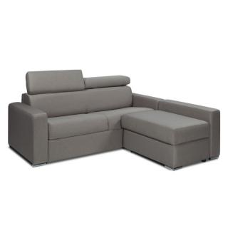 Canapé d'angle SIDNEY COMPACT convertible rapido avec chauffeuse coffre tissu tweed gris silex