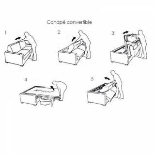 Canapé d'angle SIDNEY COMPACT convertible rapido avec chauffeuse coffre