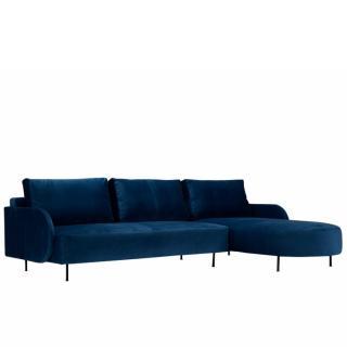 Canapé d'angle droit ALFA ROUND 3 places pieds métal
