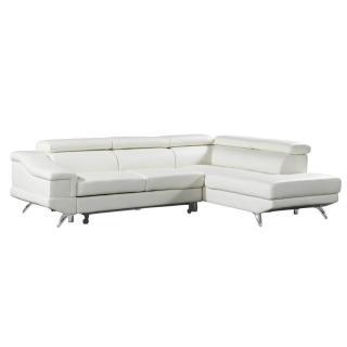 Canapé d'angle droite gigogne BORGHI cuir vachette recyclé blanc cassé