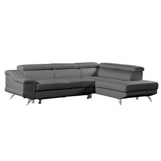 Canapé d'angle droite gigogne BORGHI cuir vachette recyclé noir