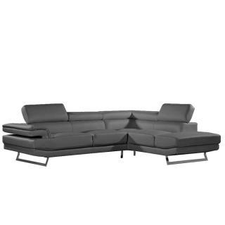 Canapé d'angle droite fixe FIUMANA cuir vachette gris graphite