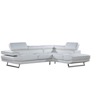 Canapé d'angle droite fixe FIUMANA cuir vachette recyclé blanc cassé