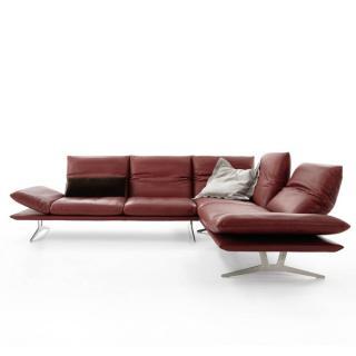 Canapé d'angle péninsule droite  haut de gamme FRANCIS de KOINOR 256cm cm dossiers et accoudoirs réglables