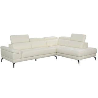 Canapé d'angle droite fixe LIDO cuir vachette blanc cassé