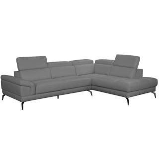 Canapé d'angle droite fixe LIDO cuir vachette gris graphite