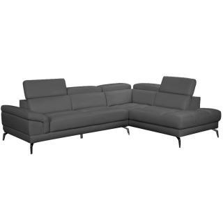 Canapé d'angle droite fixe LIDO cuir vachette recyclé noir