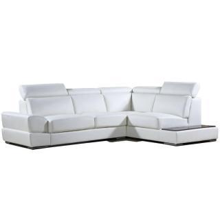 Canapé d'angle droite fixe LONGIANO cuir vachette recyclé blanc cassé