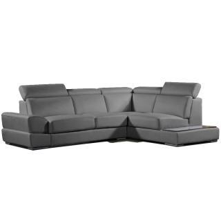 Canapé d'angle droite fixe LONGIANO cuir vachette recyclé gris graphite