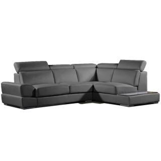 Canapé d'angle droite fixe LONGIANO cuir vachette recyclé noir