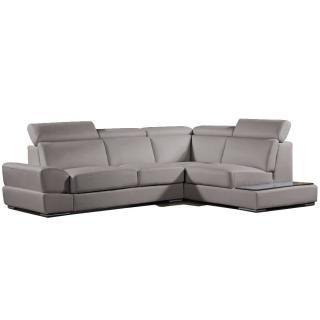 Canapé d'angle droite fixe LONGIANO cuir vachette recyclé taupe