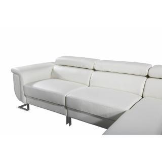 Canapé d'angle droite fixe MISANO cuir vachette blanc cassé