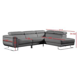 Canapé d'angle droite fixe MISANO cuir vachette gris graphite