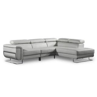 Canapé d'angle droite fixe MISANO tissu nabucka gris clair