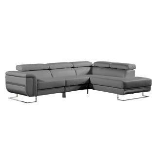 Canapé d'angle droite fixe MISANO cuir vachette recyclé gris graphite
