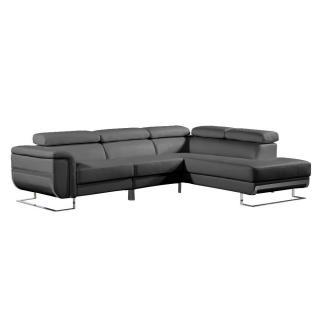 Canapé d'angle droite fixe MISANO cuir vachette recyclé noir