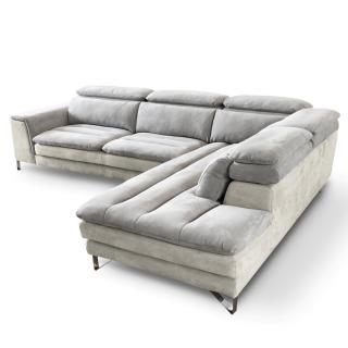 Canapé d'angle droite fixe ROMA bicolore nabucka blanc et gris clair