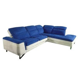 Canapé d'angle droite fixe ROMA bicolore nabucka blanc et bleu