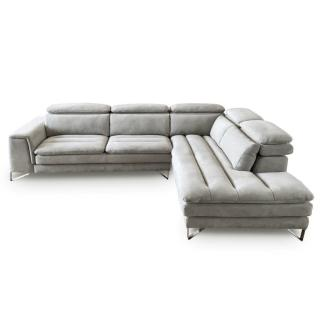 Canapé d'angle droite fixe ROMA nabucka gris clair