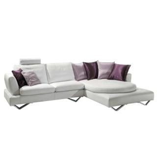 Canapé d'angle droite fixe RONDO cuir vachette blanc cassé et coussins déco 3 variantes de couleurs rose et violet