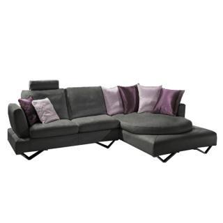 Canapé d'angle droite fixe RONDO cuir vachette gris graphite et coussins déco 3 variantes de couleurs rose et violet