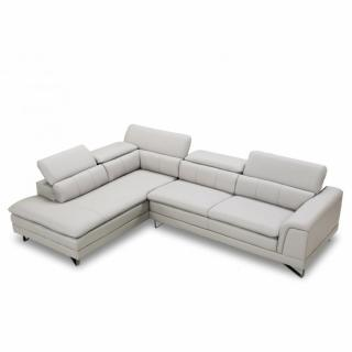 Canapé d'angle péninsule gauche fixe BELLEZZA nabucka gris clair
