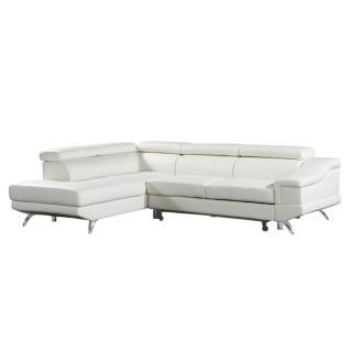 Canapé d'angle gauche gigogne BORGHI cuir vachette recyclé blanc cassé