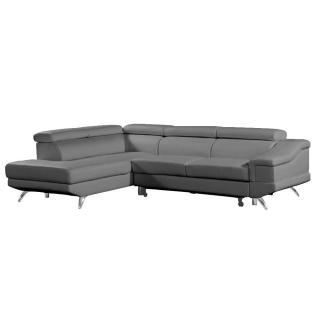 Canapé d'angle gauche gigogne BORGHI cuir vachette recyclé gris graphite