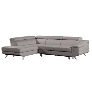 Canapé d'angle gauche gigogne BORGHI cuir vachette recyclé taupe