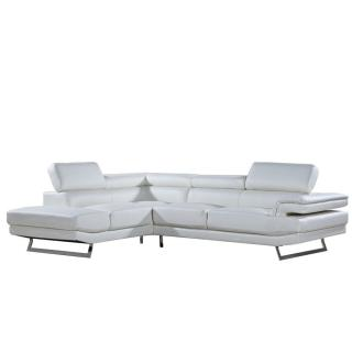 Canapé d'angle gauche fixe FIUMANA cuir vachette blanc cassé