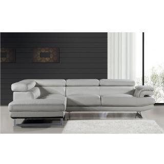 Canapé d'angle gauche fixe FIUMANA nabucka gris clair