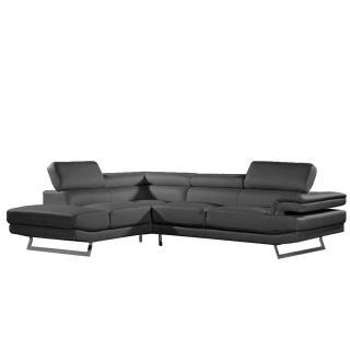 Canapé d'angle gauche fixe FIUMANA cuir vachette recyclé noir