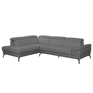 Canapé d'angle gauche fixe LIDO cuir vachette gris graphite