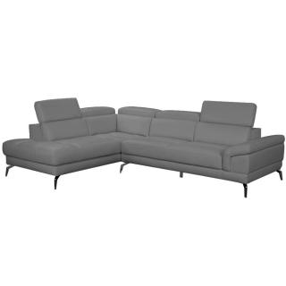 Canapé d'angle gauche fixe LIDO cuir vachette recyclé gris graphite