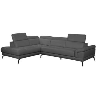 Canapé d'angle gauche fixe LIDO cuir vachette recyclé noir