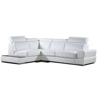 Canapé d'angle gauche fixe LONGIANO cuir vachette recyclé blanc cassé