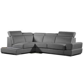 Canapé d'angle gauche fixe LONGIANO cuir vachette recyclé gris graphite