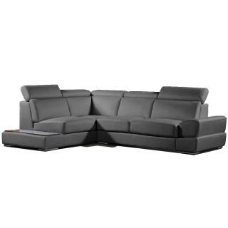 Canapé d'angle gauche fixe LONGIANO cuir vachette recyclé noir