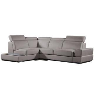 Canapé d'angle gauche fixe LONGIANO cuir vachette recyclé taupe
