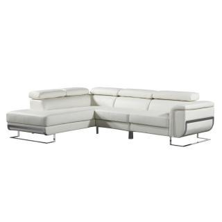 Canapé d'angle gauche fixe MISANO cuir vachette blanc cassé