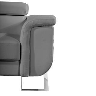 Canapé d'angle gauche fixe MISANO cuir vachette gris graphite