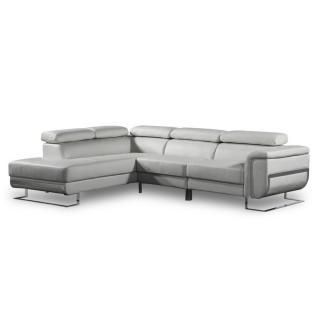 Canapé d'angle gauche fixe MISANO tissu nabucka gris clair