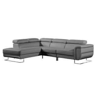 Canapé d'angle gauche fixe MISANO cuir vachette recyclé gris graphite