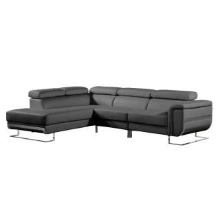 Canapé d'angle gauche fixe MISANO cuir vachette recyclé noir