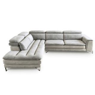 Canapé d'angle gauche fixe ROMA bicolore tissu nabucka blanc et gris clair