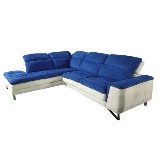 Canapé d'angle gauche fixe ROMA bicolore tissu nabucka blanc et bleu