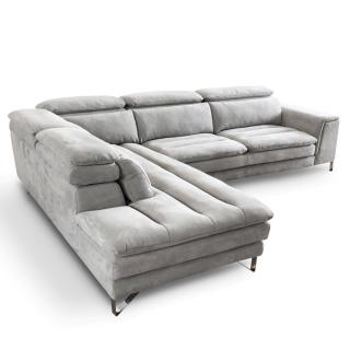 Canapé d'angle gauche fixe ROMA nabucka gris clair