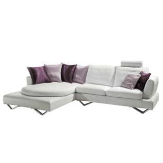 Canapé d'angle gauche fixe RONDO cuir vachette blanc cassé et coussins déco 3 variantes de couleurs rose et violet