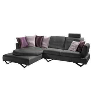 Canapé d'angle gauche fixe RONDO cuir vachette gris graphite et coussins déco 3 variantes de couleurs rose et violet